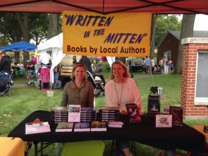 Fellow local YA author Deanna Compton and me at the North Muskegon Art Fair on August 8.